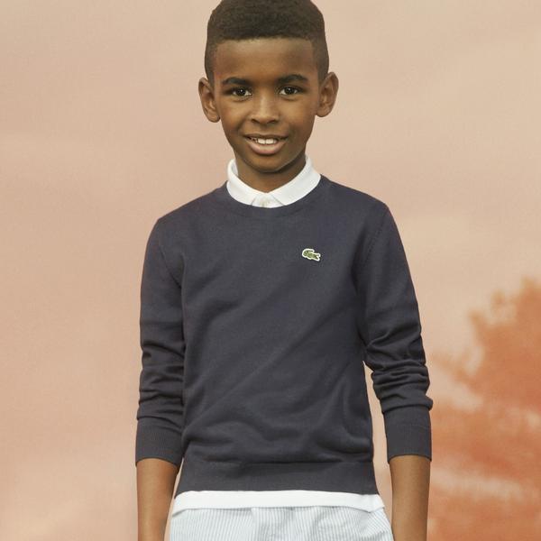 Lacoste светр дитячий з круглим вирізом