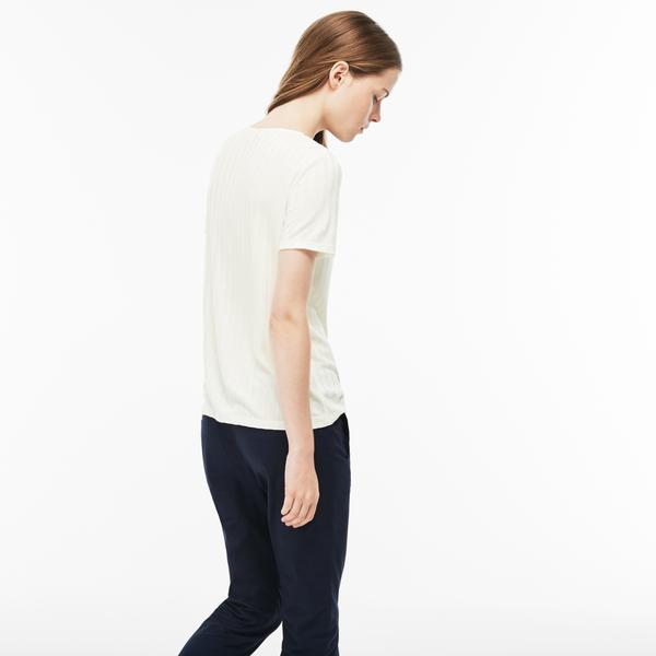 Lacoste Women's Henley Neck Ribbed Knit T-shirt