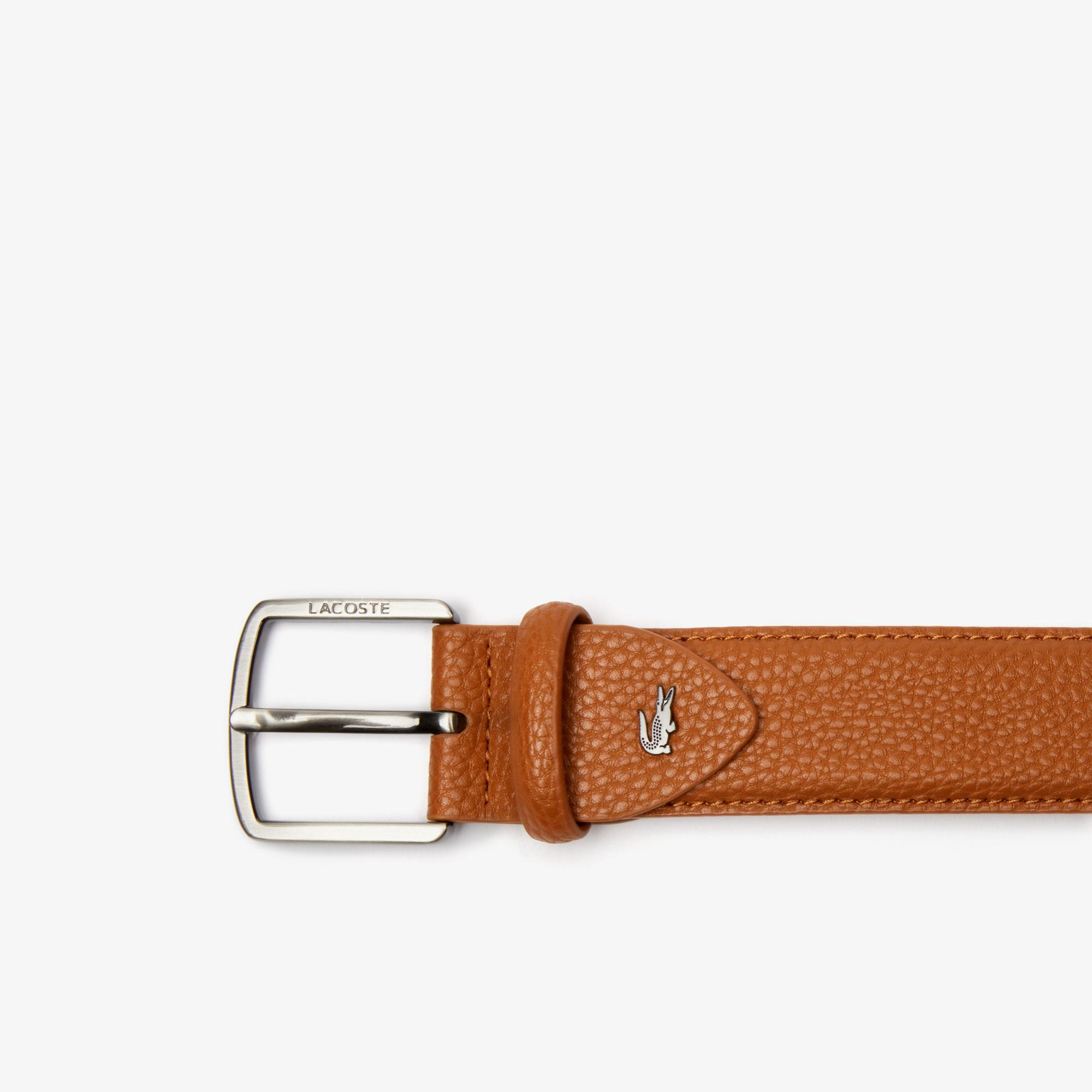 Lacoste Men's Engraved Buckle Grained Effect Belt