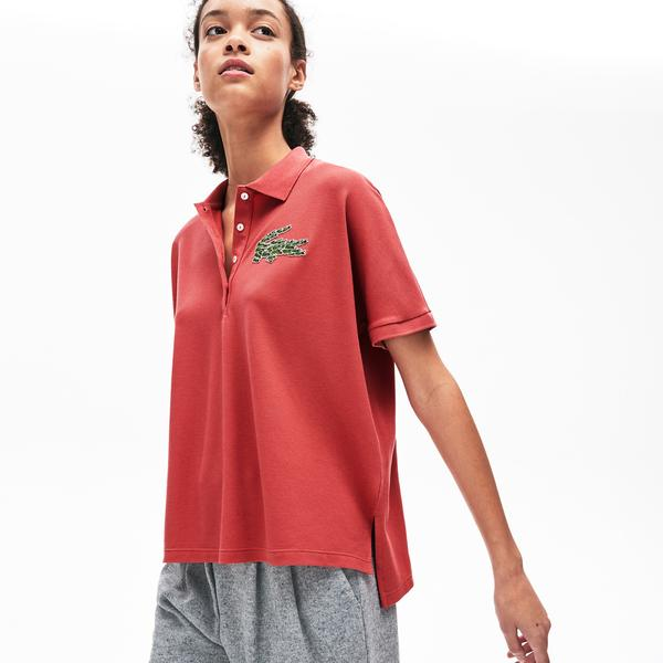Lacoste Women's Relaxed Fit Multi Croc Badge Flowing Piqué Polo Shirt