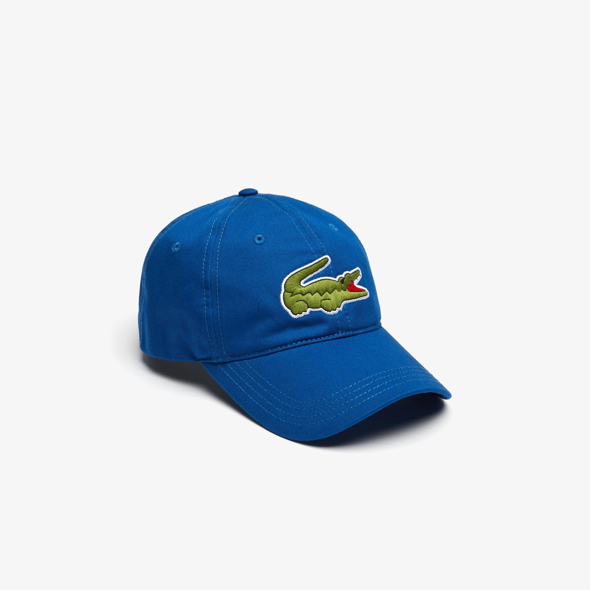 Lacoste Men's Contrast Strap And Oversized Crocodile Cotton Cap