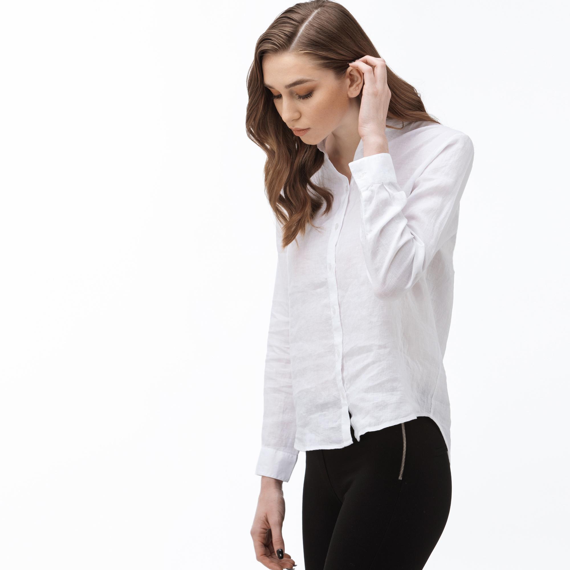Lacoste Women's Stand-Up Collar Linen Shirt
