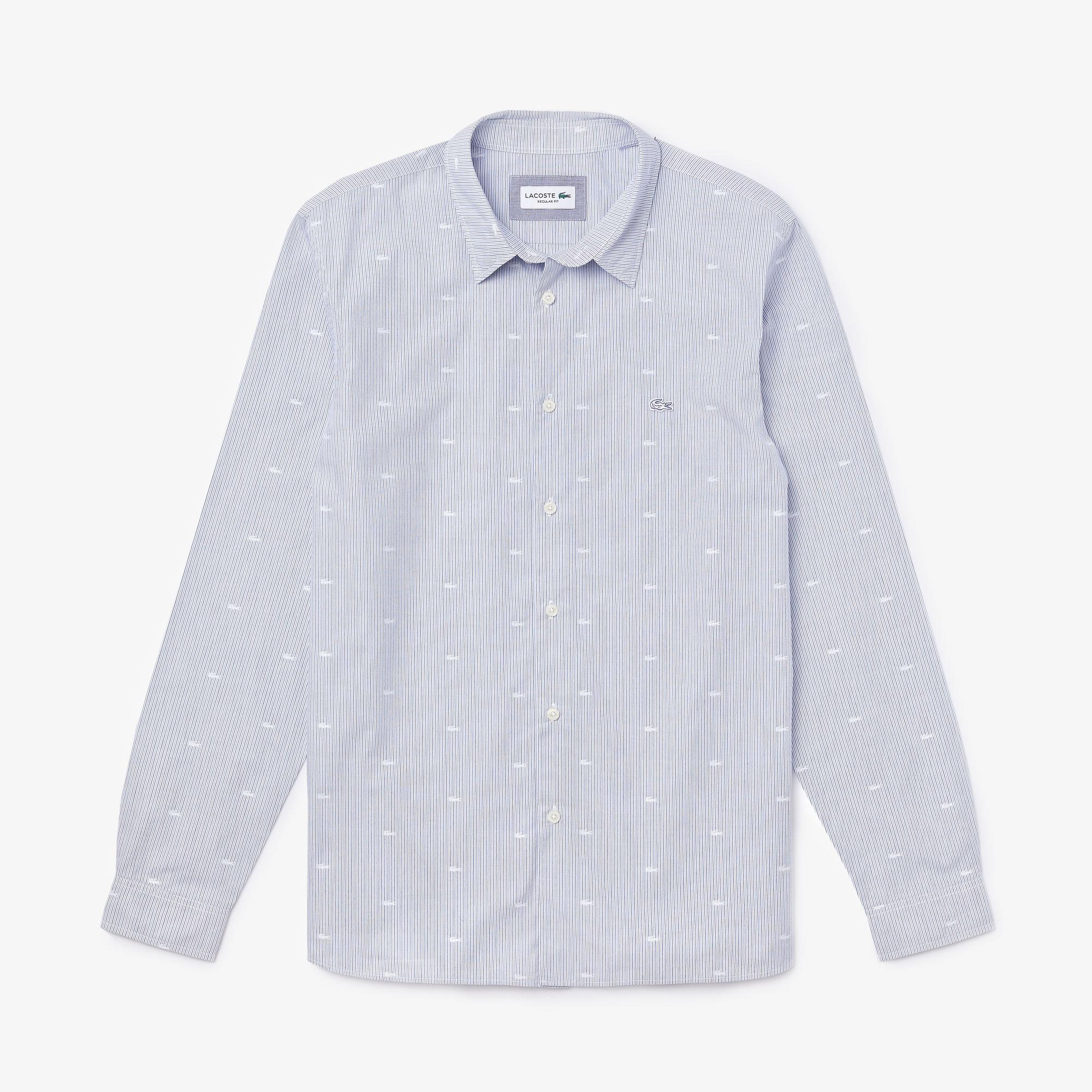 Lacoste Men's Crocodile Print Poplin Shirt