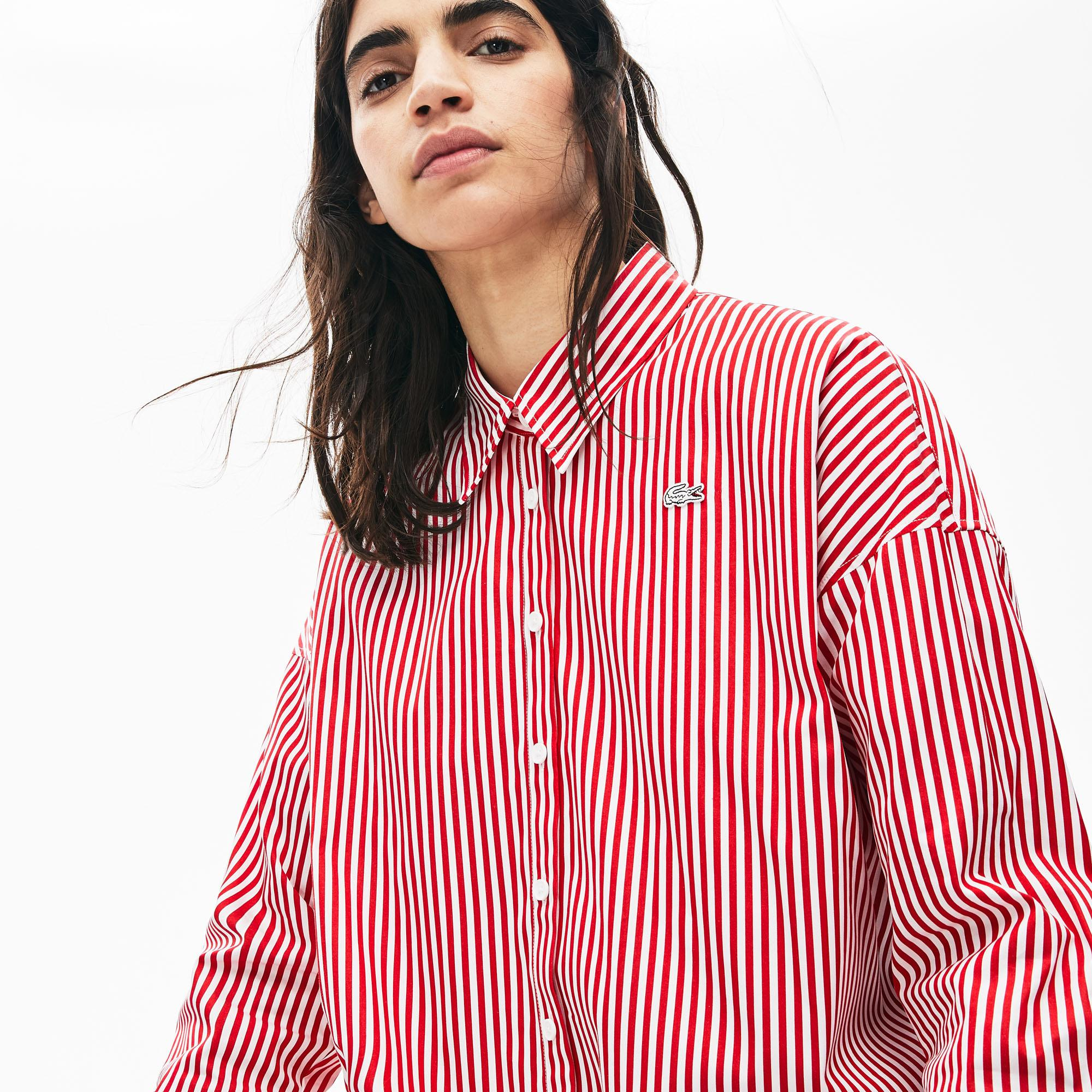 Lacoste L!VE Women's Boxy Fit Striped Cotton Shirt