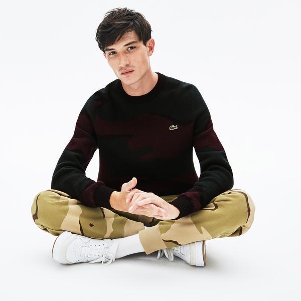 Lacoste L!VE Men's Camouflage Cashmere And Cotton Jacquard Sweater