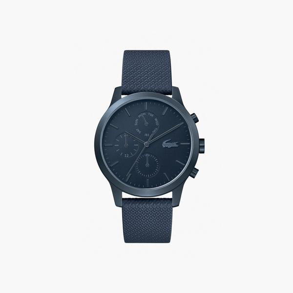 Lacoste Men's L.12.12 Watch With Navi Leather Petit Piqué Strap