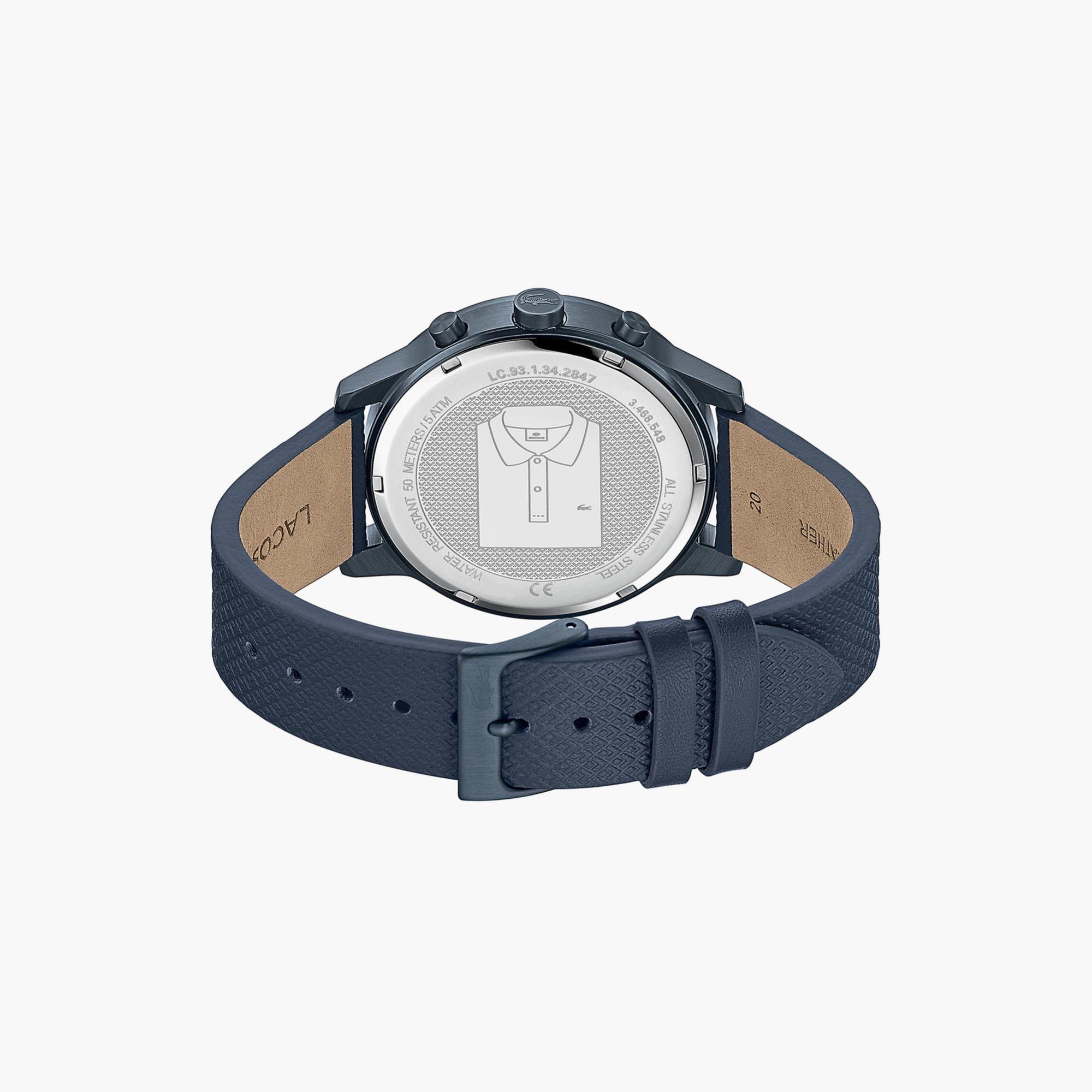 Lacoste Men's L.12.12 Watch With Navi Leather Petit Piqué Strap