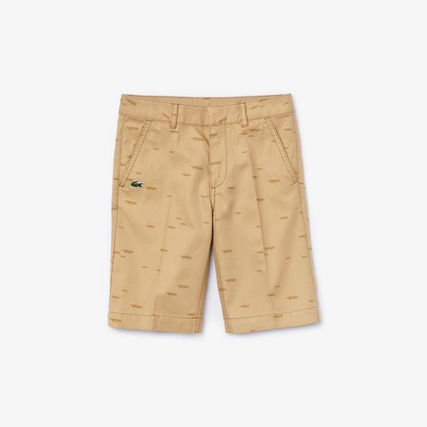 Lacoste Boys' Crocodile Print Cotton Bermudas