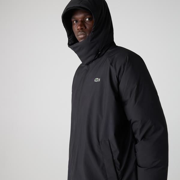 Lacoste Men's LIVE Hooded Water-Repellent Oversized Coat