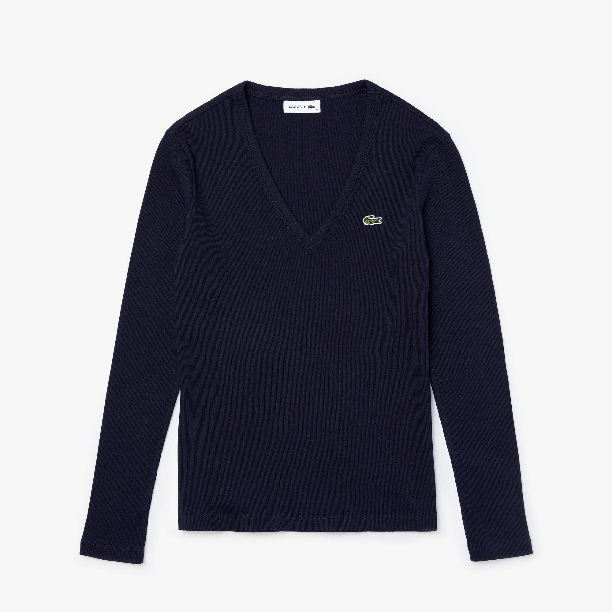 Lacoste Women's V-neck Ribbed Cotton T-shirt