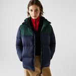 Lacoste Women's Stand-Up Collar Concealed Hood Colorblock Short Jacket