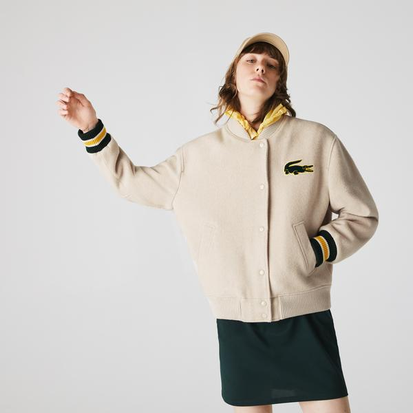 Lacoste Women's LIVE Croc And Badge Oversized Wool Teddy Jacket