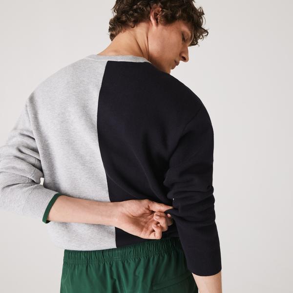 Lacoste Men's Crew Neck Colorblock Cotton Blend Sweater