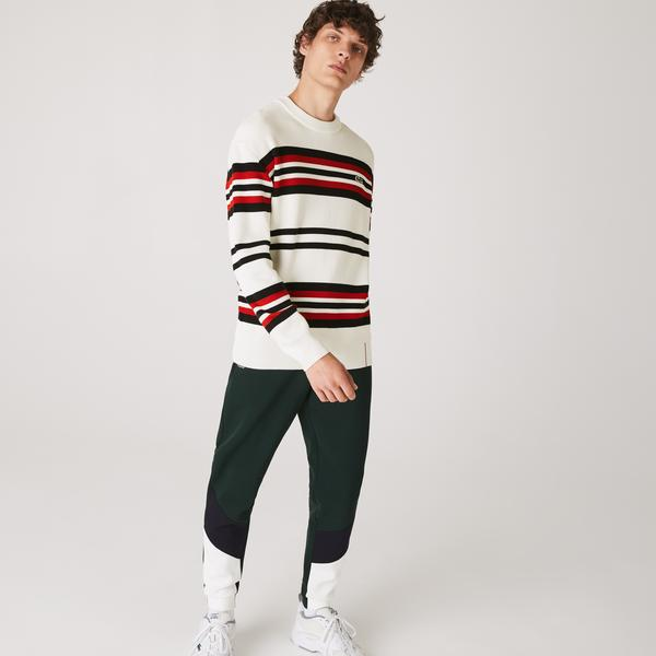 Lacoste Men's Made in France Striped Organic Cotton Crew Neck Sweater