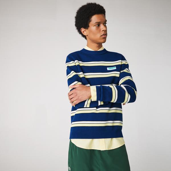 Lacoste Men's LIVE Striped Cotton Crew Neck Sweater