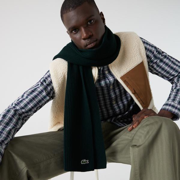 Lacoste Men's Ribbed Rectangular Wool Scarf
