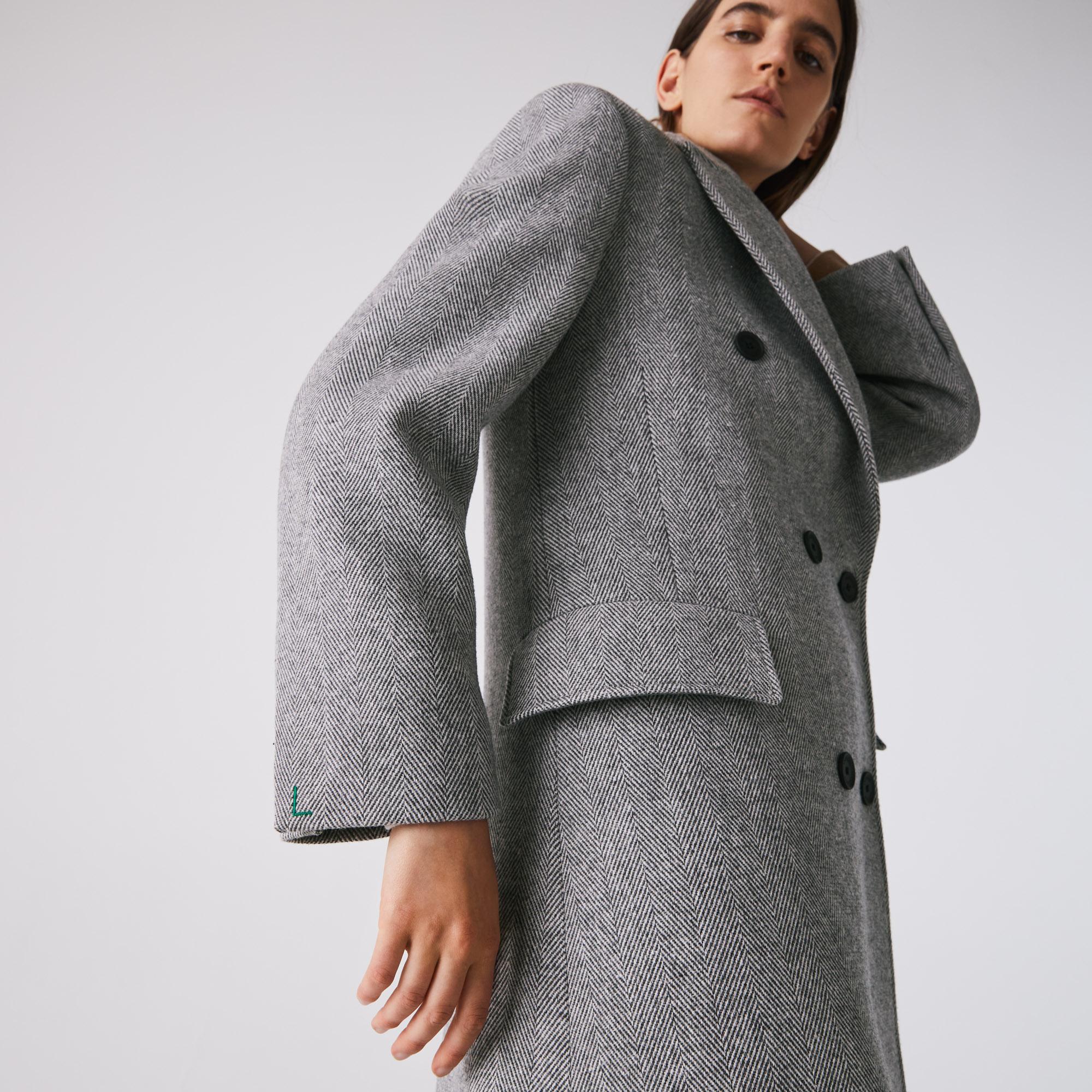 Lacoste Women's Double-Breasted Chevron Long Wool Blend Coat