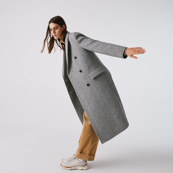 Lacoste Women's Double-Breasted Chevron Long Wool Blend Coat