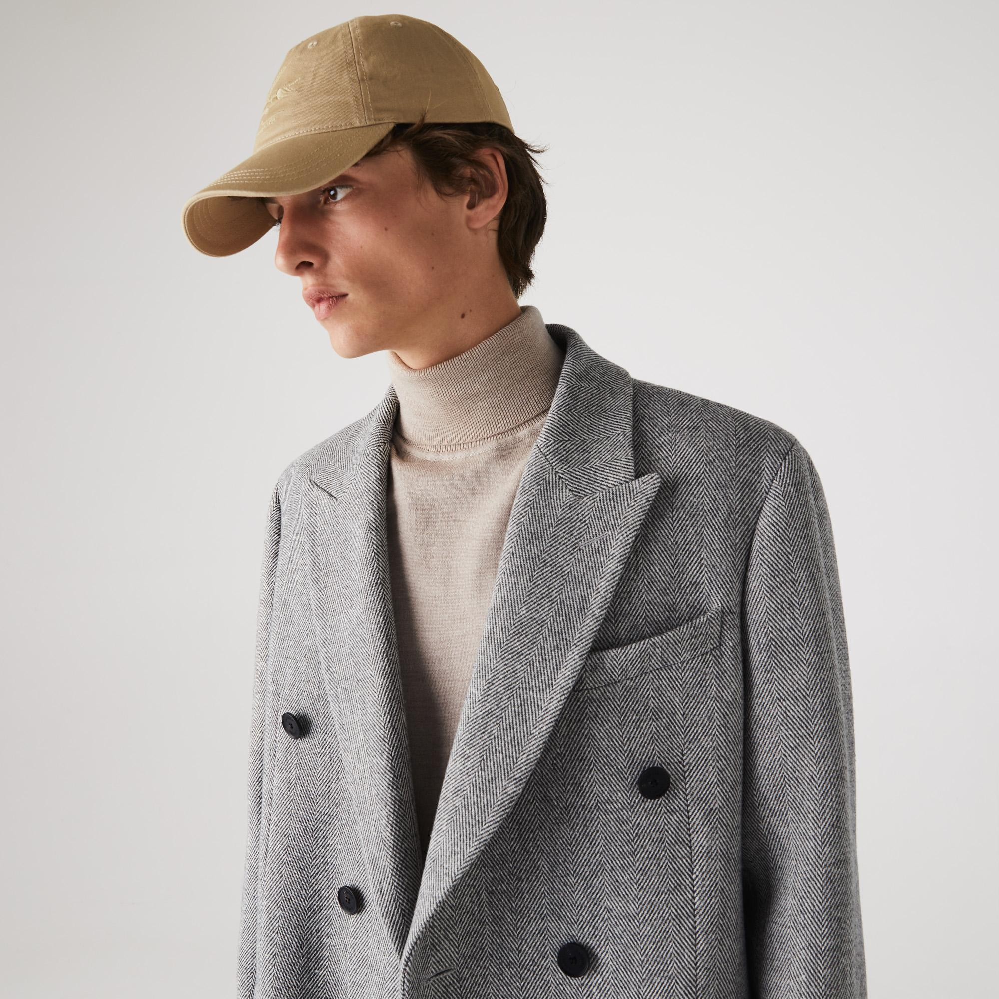 Lacoste Men's Long Double-Breasted Herringbone Wool Coat