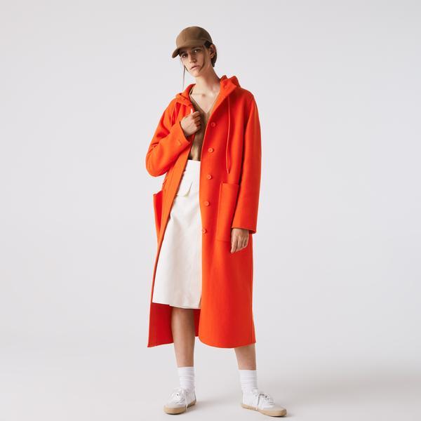 Lacoste Women's Hooded Zippered Long Wool Blend Coat