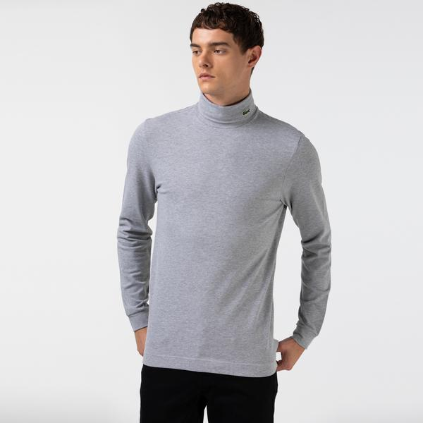 Lacoste Men's Turtleneck Stretch Organic Cotton Piqué T-shirt