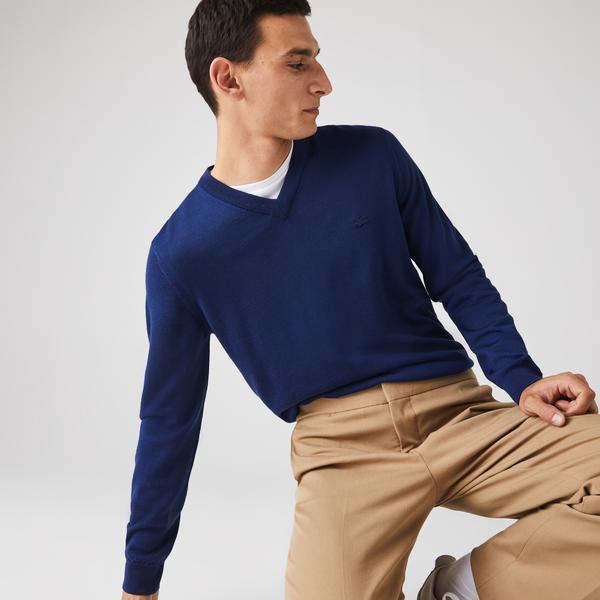 Lacoste Men's V-Neck Merino Wool Sweater