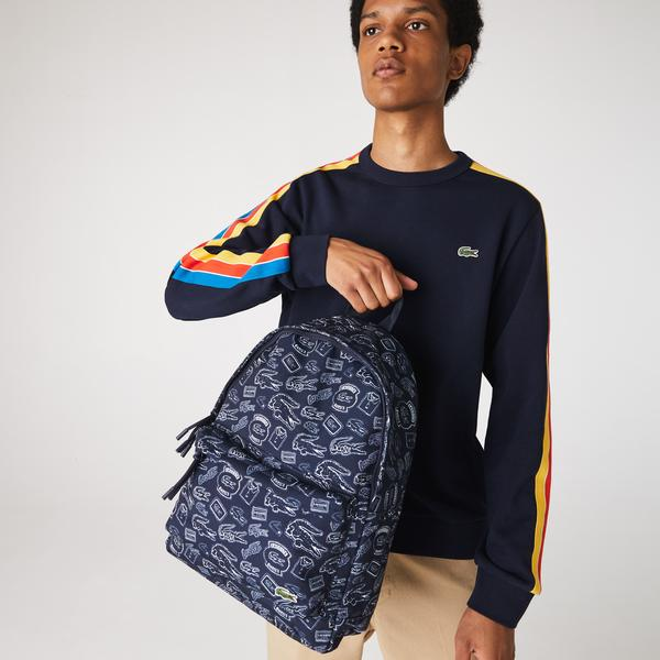 Lacoste Men's Neocroc Pattern Canvas Backpack