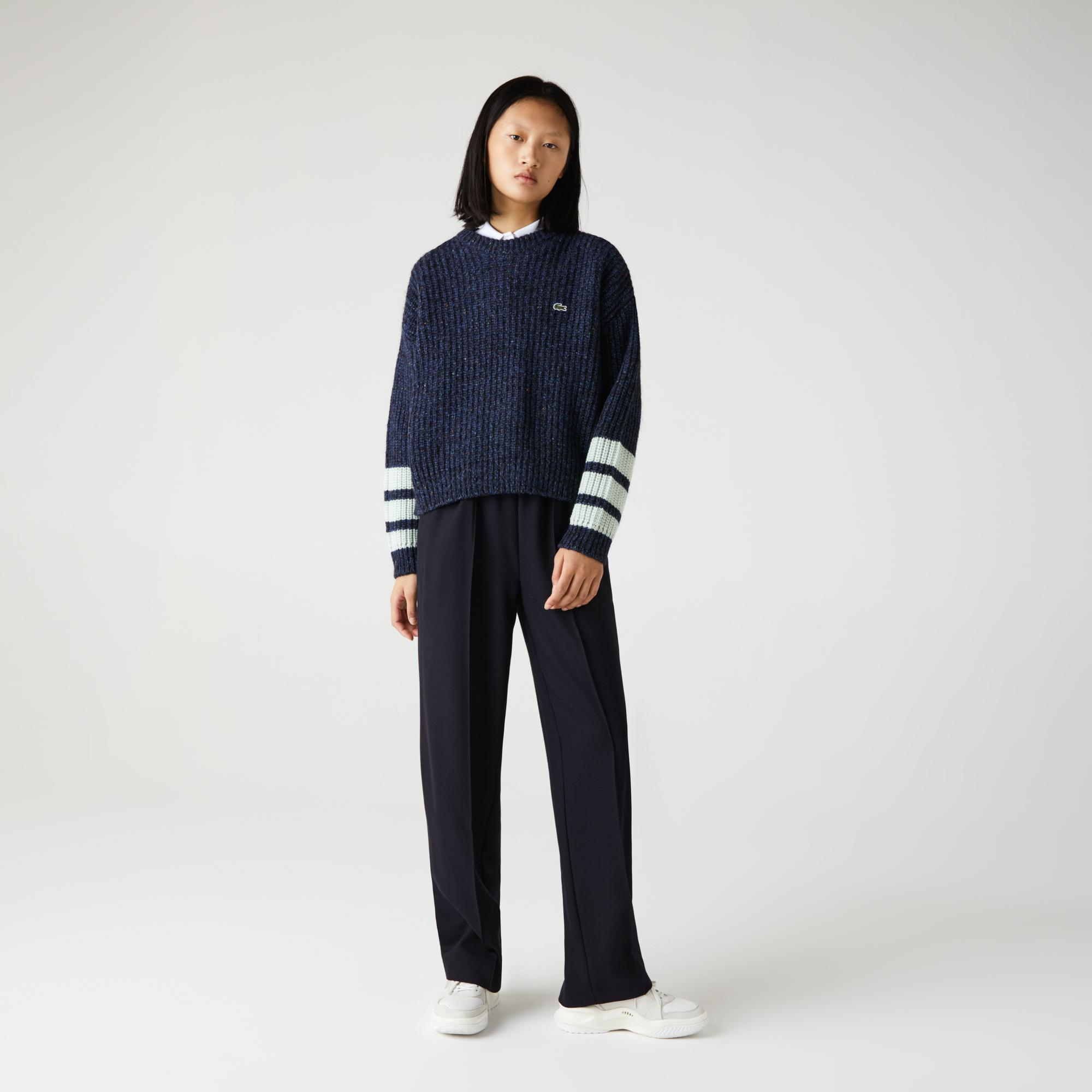 Lacoste Women's Crew Neck Striped Ribbed Wool Blend Sweater