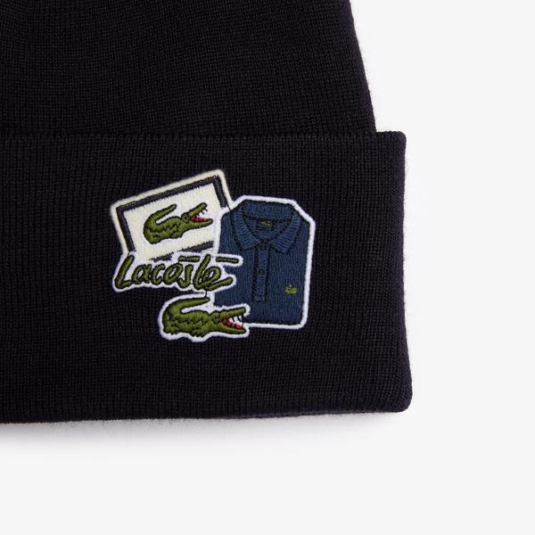 Lacoste Men's Badge Ribbed Wool Beanie
