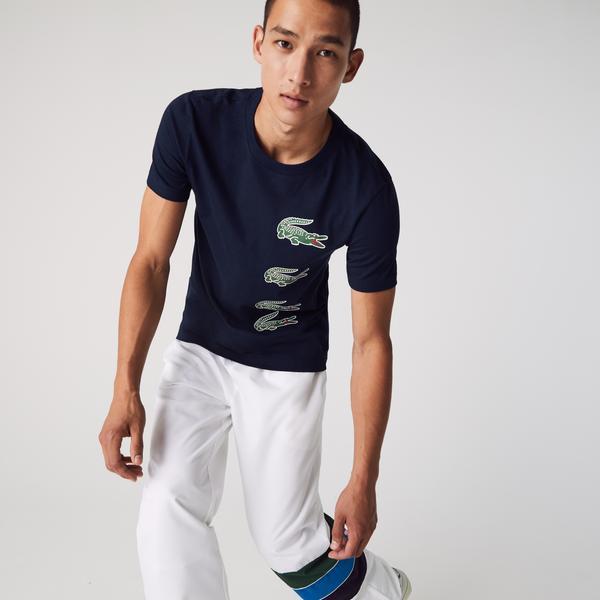 Lacoste Men's SPORT Crew Neck Crocodile Print T-shirt