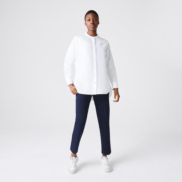 Lacoste Women's Regular Fit Mandarin Collar Oxford Cotton Shirt
