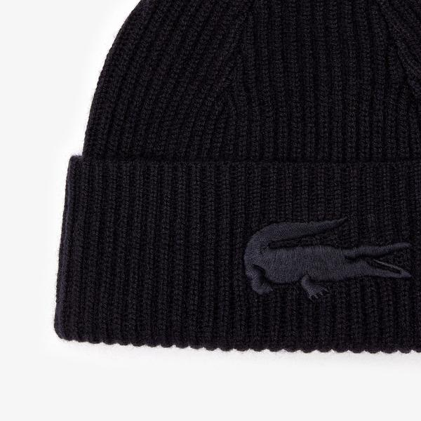 Lacoste Men's Ribbed Wool And Cashmere Beanie