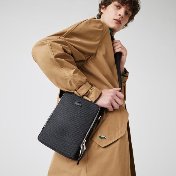 Lacoste Men's Chantaco Matte Stitched Leather Vertical Camera Bag