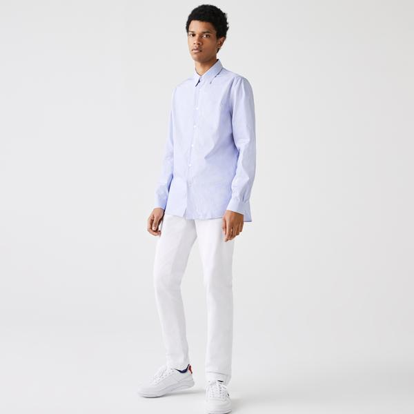 Lacoste Men's Regular Fit Striped Cotton Poplin Shirt
