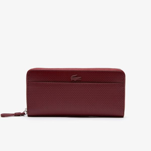 Lacoste Women's Chantaco Matte Piqué Leather Zip Wallet