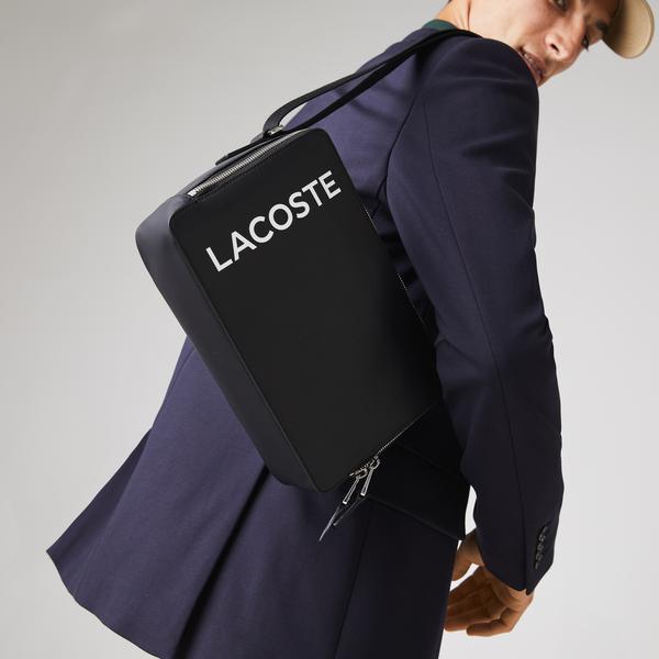 Lacoste Men's L.12.12 Branded Smooth Leather Rectangular Crossbody Bag