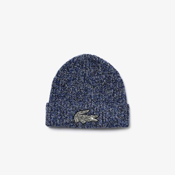 Lacoste Men's Flecked Ribbed Wool Beanie