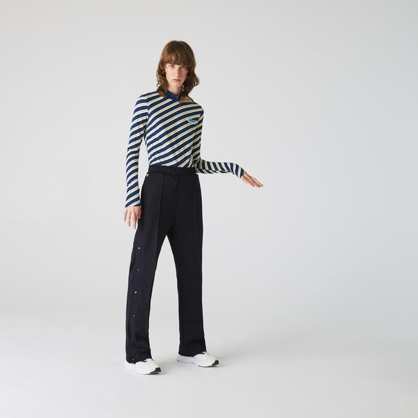 Lacoste Women's LIVE Colorfully Striped Piqué Turtleneck T-shirt
