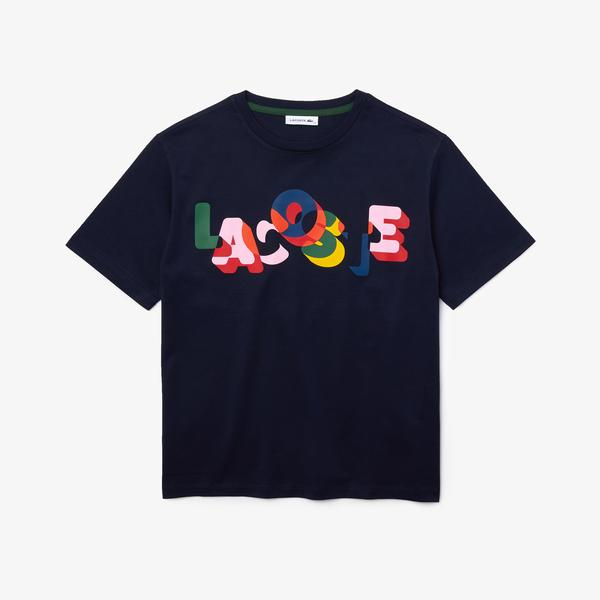 Lacoste Women's Crew Neck Print Soft Cotton T-shirt