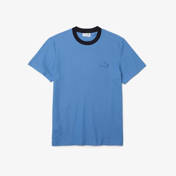 Lacoste Men's Contrast Crew Neck Loose Fit Textured Cotton T-shirt