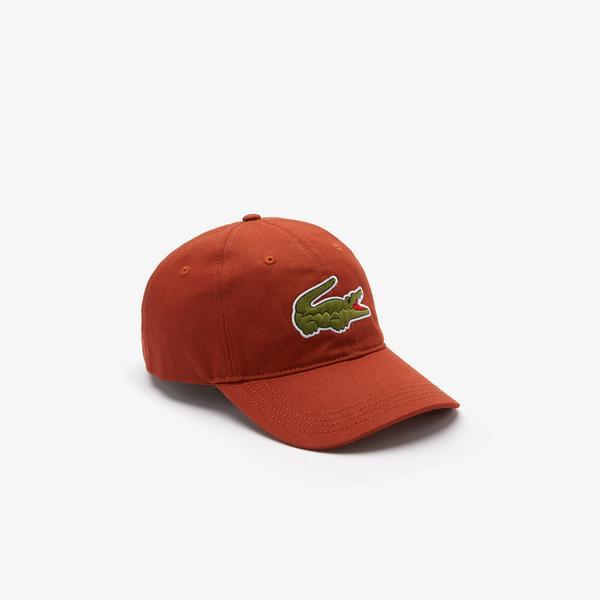 Lacoste Men's Contrast Strap And Oversized Crocodile Cotton Cap
