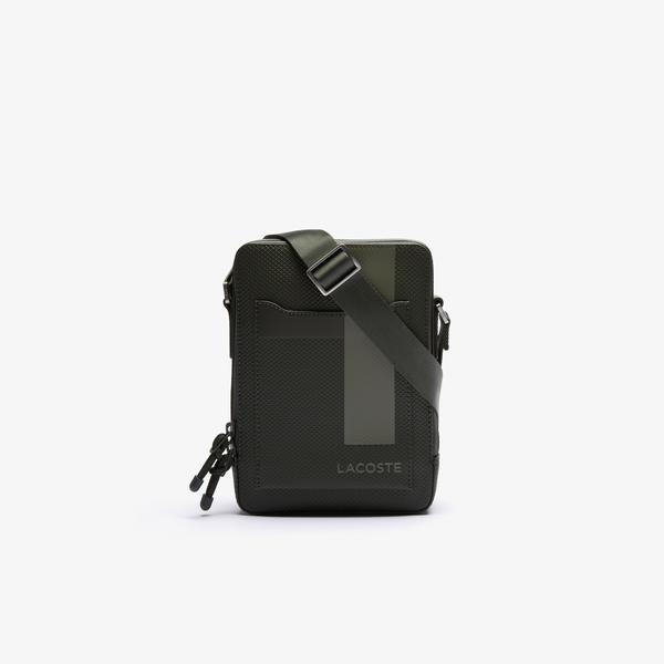 Lacoste Men's Chantaco Vertical Graphic Matte Piqué Leather Zip Bag