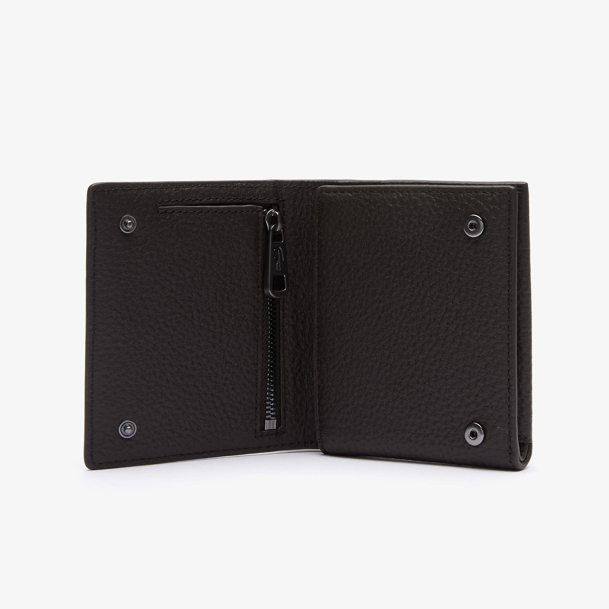 Lacoste Men's Soft Matte Small Grained Leather Foldable Wallet