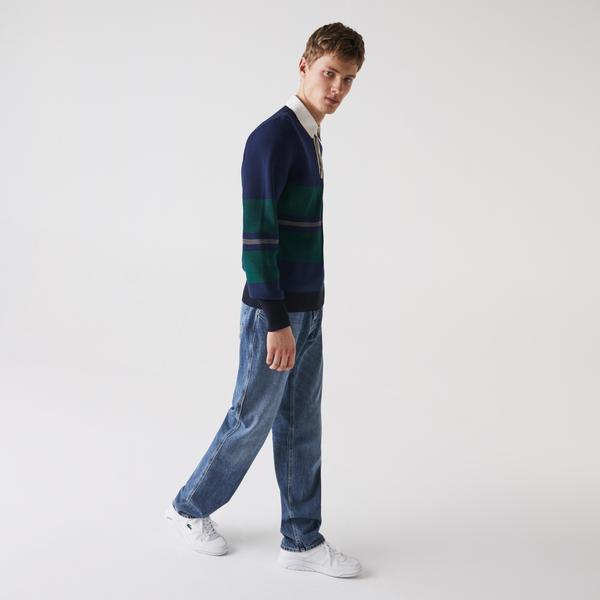Lacoste Men's Loose Cut Five-Pocket Cotton Denim Jeans