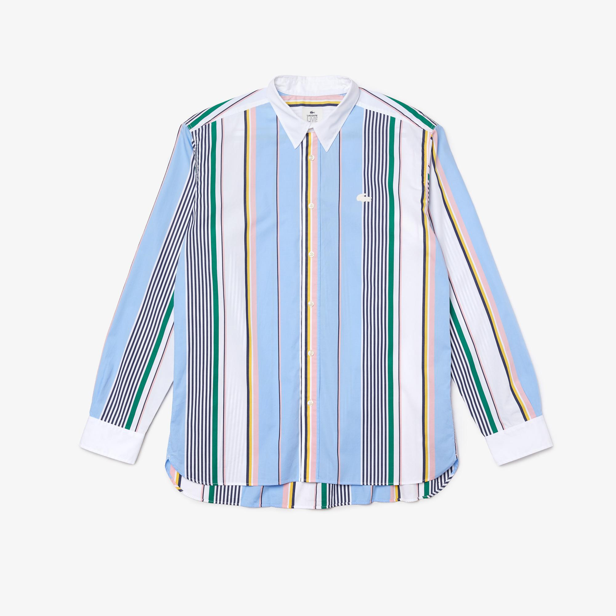 Lacoste LIVE Men's Relaxed Fit Mismatched Stripes Cotton Shirt