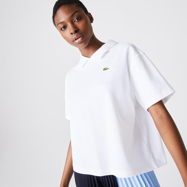Lacoste Women's LIVE Boxy Fit Stretch Cotton Piqué Polo Shirt