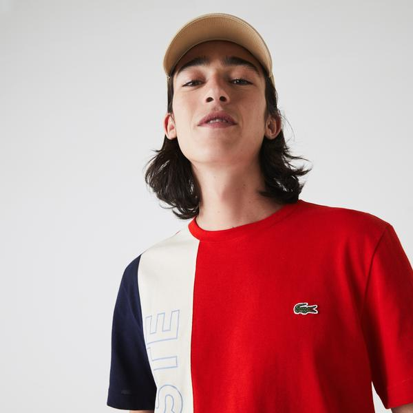 Lacoste Men's Crew Neck Lettering Colourblock T-shirt
