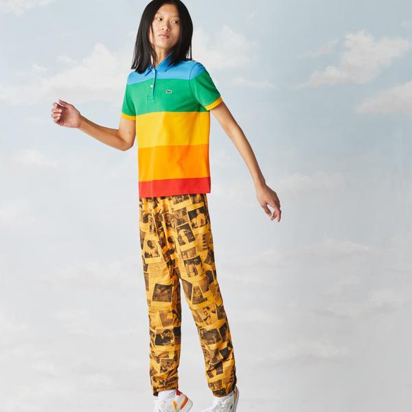 Lacoste Women's x Polaroid Colour Striped Regular Fit Polo Shirt