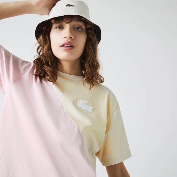Lacoste LIVE Women's Loose Bicolour Cotton T-shirt