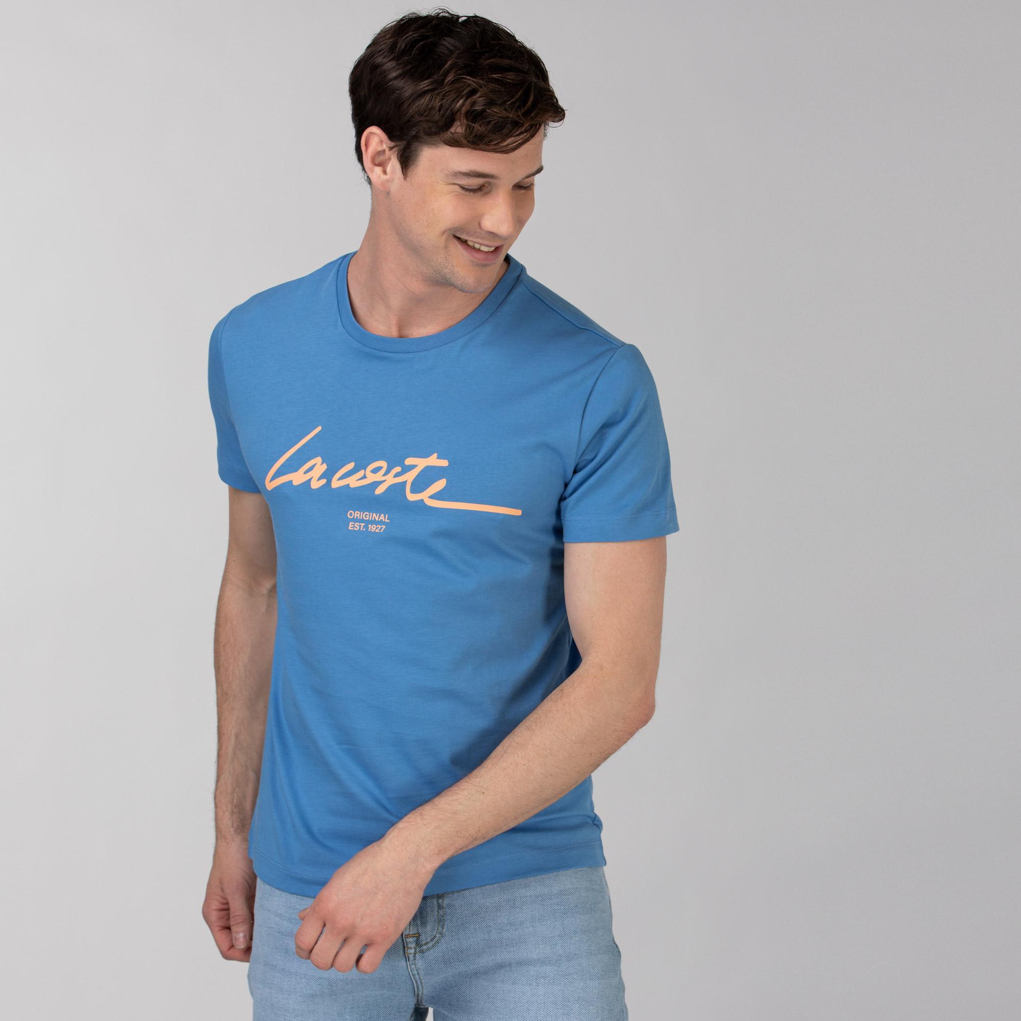 Lacoste Men's Crew Neck Print Lettering Cotton T-shirt